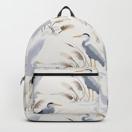 Great Blue Heron on White Backpack