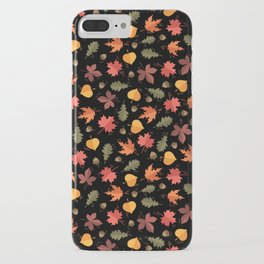 Autumn Leaves Pattern Black Background iPhone Case