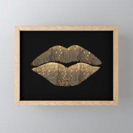 Golden Motes Kissing Lips Framed Mini Art Print