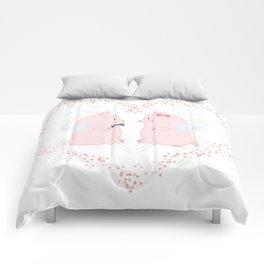 I believe love flies - Flying Pigs Couple Comforters
