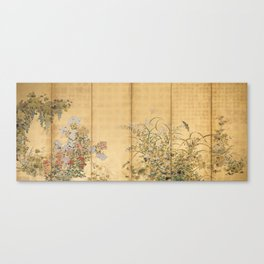 Japanese Edo Period Six-Panel Gold Leaf Screen - Spring and Autumn Flowers Canvas Print