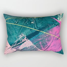 Wild [6]: a vibrant, bold, minimal abstract piece in teal, pink, and green Rectangular Pillow
