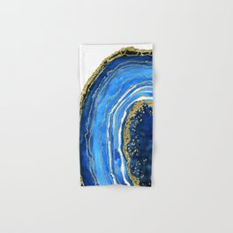 Cobalt blue and gold geode in watercolor (2) Hand & Bath Towel