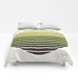 Olive Green Mid Century Modern Minimalist Scandinavian Colorful Stripes Geometric Pattern Round Circ Comforters