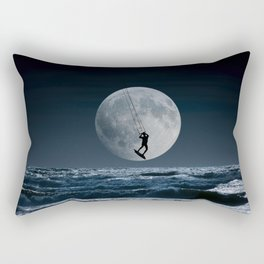 Kitesurfer in the moon in blue night sky horizon Rectangular Pillow