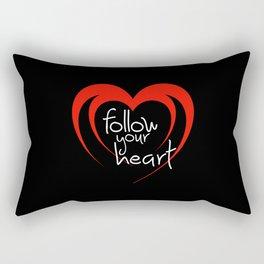 Heart follow your heart black Rectangular Pillow