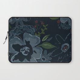 Moody Blues Floral Pattern Laptop Sleeve