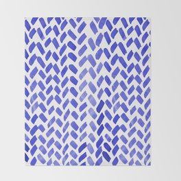 Cute watercolor knitting pattern - blue Throw Blanket