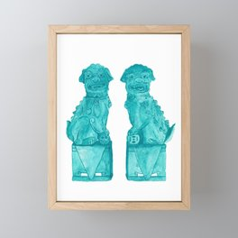 Watercolor Foo Dogs by Artume Framed Mini Art Print