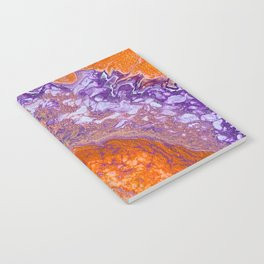 Clemson Orange and Purple Paint Pour Effect Notebook