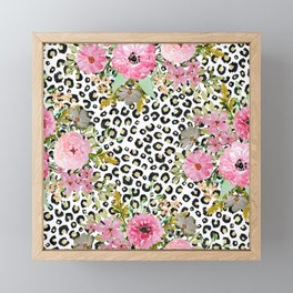 Elegant leopard print and floral design Framed Mini Art Print