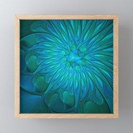 Floral in Sea Colors Framed Mini Art Print
