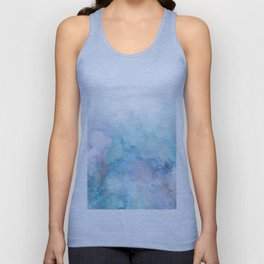 Fresh Blue and Aqua Ombre Frozen Marble Unisex Tank Top