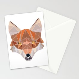 Fox Forest Wild Life Animal Design Polygonal T--shirt Design Symmetrical Triangular Mathematics Stationery Cards