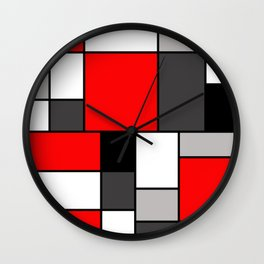 Red Black and Grey squares Wall Clock