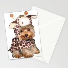 Yorkie in Giraffe Costume   Dogs Stationery Cards
