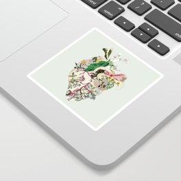 Vintage Botanical Heart On Green Sticker