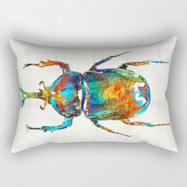 Colorful Beetle Art - Scarab Beauty - By Sharon Cummings Rectangular Pillow