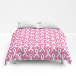 Breast Cancer Awareness Ribbons - Pink & White Comforters