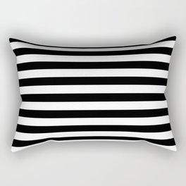Black and White Horizontal Strips Rectangular Pillow