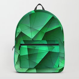 Abstract strict pattern of azure and overlapping fragments and glass lines of irregular shape. Backpack