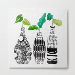 Black and White Tribal Vases Metal Print