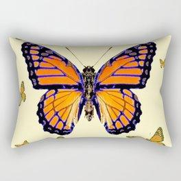 SPRING FLYING ORANGE MONARCH BUTTERFLIES ON CREAM Rectangular Pillow