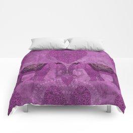 Elephants in Love pink heart artwork Comforters