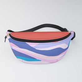 lucia, orange sunset ocean waves Fanny Pack
