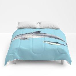 Blue Bottlenose dolphin Comforters