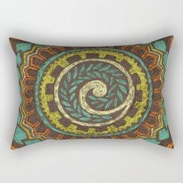Retro Colorful 60s 70s Polynesian Mandala Tattoo - Vintage Orange Blue Rectangular Pillow