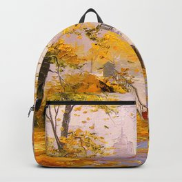 Walk in autumn after rain Backpack