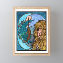 Turquoise Moon Framed Mini Art Print