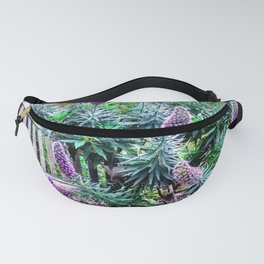 Bench Amongst Purple Flower Display by Reay of Light Fanny Pack