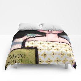 Mixed Media Girl Ghandi Quote Comforters
