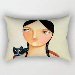 Woman with Three Black Cats painting by TASCHA Rectangular Pillow