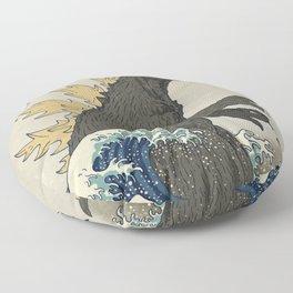 The Great Godzilla off Kanagawa Floor Pillow