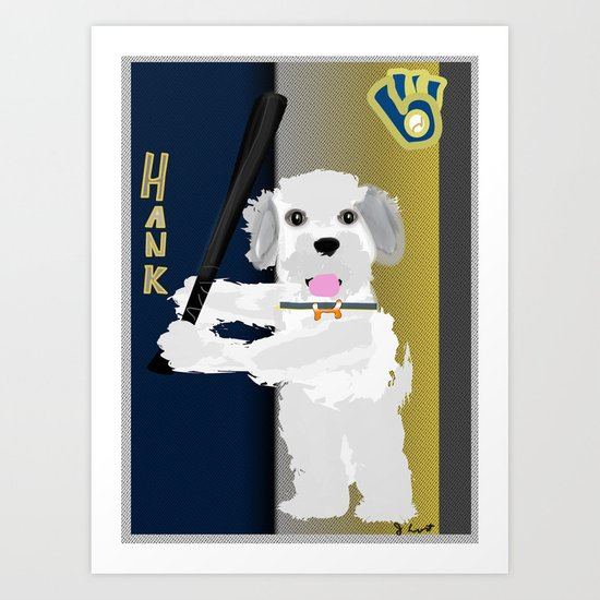 Hank the Dog is at the Plate  Art Print