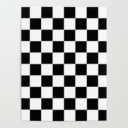 Checker Cross Squares Black & White Poster