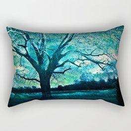 Surreal Fantasy Fairytale Aqua Blue Trees Gothic Landscape Rectangular Pillow