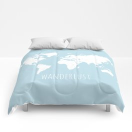 World Map - Wanderlust Quote - Modern Travel Map in Light Blue With White Countries Comforters