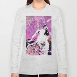 WOLF PINK MOON SHOOTING STARS Long Sleeve T-shirt