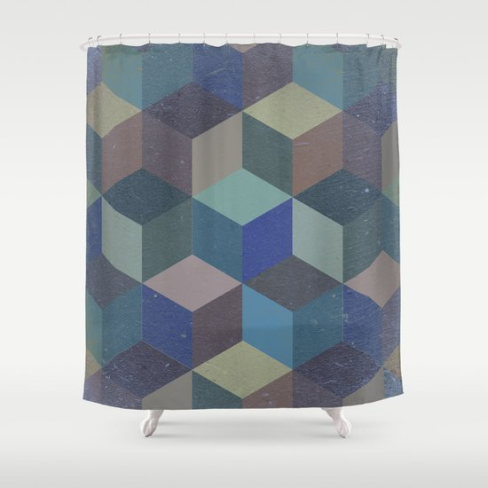 Dimension in blue Shower Curtain