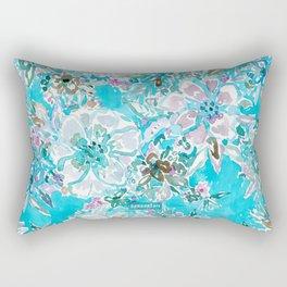 BEACH BABE Aqua Watercolor Floral Rectangular Pillow