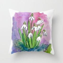Little Snowdrops Throw Pillow