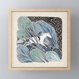 White Gallop Framed Mini Art Print