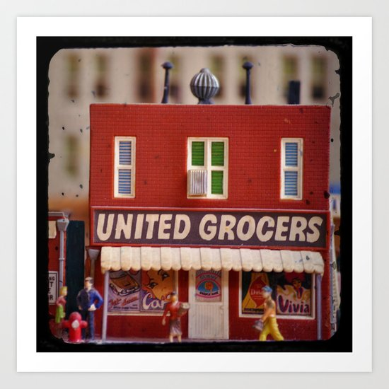 Shopping Day (Small Town Downtown Series) Art Print
