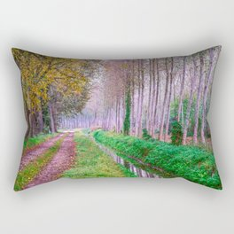 Country road close to an irrigation ditch in a natural park during autumn Rectangular Pillow