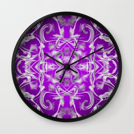 dark purple and silver Digital pattern with circles and fractals artfully colored design for house Wall Clock