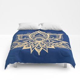 Gold and Blue Lotus Flower Mandala Comforters